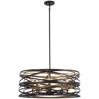 Minka Lavery Vortic Flow 8-Light Bronze with Mosaic Gold Interior Pendant - Home Depot