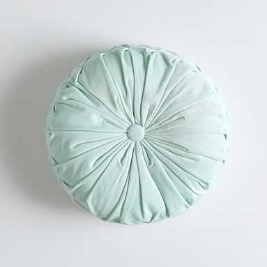Velvet Pleated Round Pillow, O/S, Icy Aqua - Pottery Barn Teen