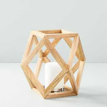 Angular Wood Lantern, Small - West Elm