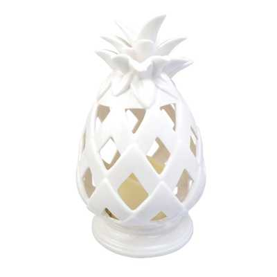 10.6 in. Battery Powered Integrated LED White Tabletop Pineapple Outdoor Patio Light - Home Depot