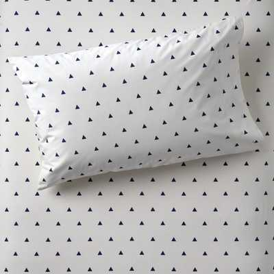 Organic Little Prints Blue Triangle Pillowcase - Crate and Barrel
