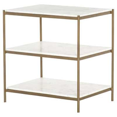 Kian Modern Gold Frame 3 Tier White Marble Shelves Nightstand - Kathy Kuo Home