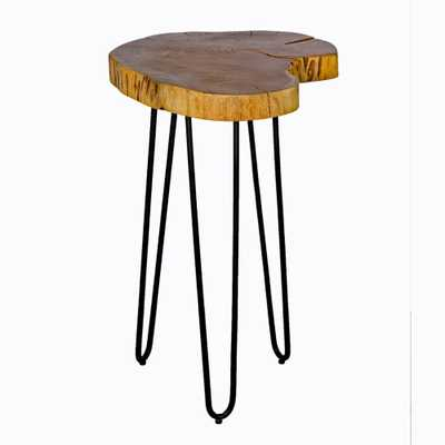20 in. Brown and Black Hairpin Natural Live Edge Wood with Metal Round End Table, Brown/Black - Home Depot