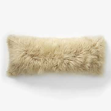 "Mongolian Lamb Pillow Cover, 14""x36"" Pebble - West Elm"