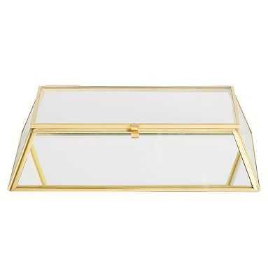Skyline Lidded Desktop Catchall, Glass/Gold - Pottery Barn Teen
