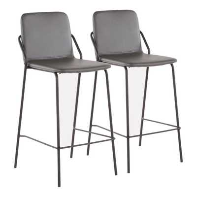 Stefani Industrial 25 in. Grey Faux Leather Counter Stool (Set of 2), Grey Faux Leather/Black Metal - Home Depot