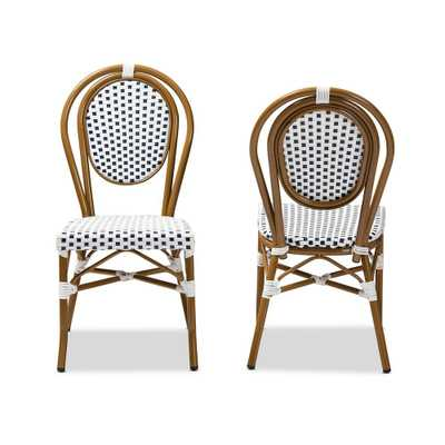 Baxton Studio Gauthier Navy and White Dining Chair (Set of 2) - Home Depot