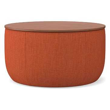 Upholstered Storage Base Ottoman, Large, Basket Slub, Desert Sunset, Dark Mineral, Poly - West Elm