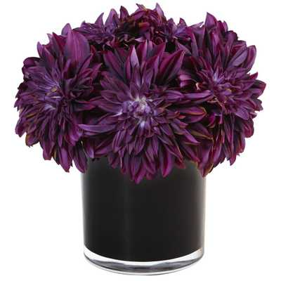 Dahlia Mum Silk Arrangement in Black Glossy Cylinder Vase Purple - Home Depot