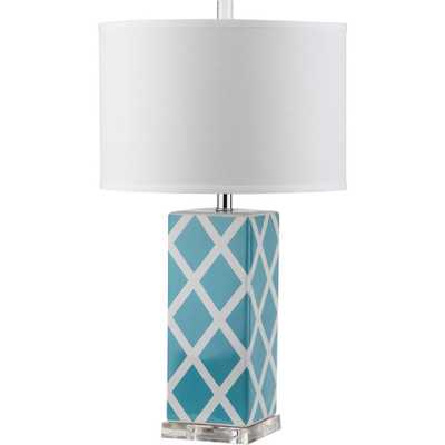 Safavieh Garden Lattice 27 in. Light Blue Table Lamp with White Shade - Home Depot