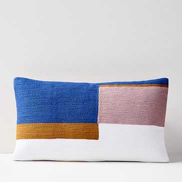 "Crewel Stacked Blocks Pillow Cover, Landscape Blue, 12""x21"" - West Elm"