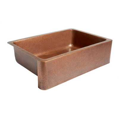 Adams Farmhouse Apron Front Handmade Pure Solid Copper 33 in. Single Bowl Kitchen Sink in Antique Copper - Home Depot