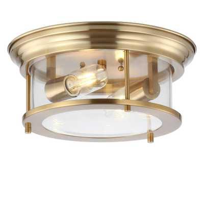 JONATHAN Y Lauren Brass Gold 13.25 in. Metal/Glass LED Flushmount - Home Depot