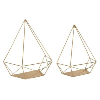 Kate and Laurel Prouve 14 in. x 7 in. x 15 in. Gold Metal Decorative Wall Shelf - Home Depot