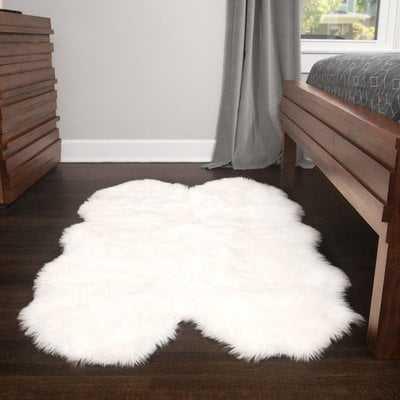 Ilka Faux Fur White Area Rug - Wayfair