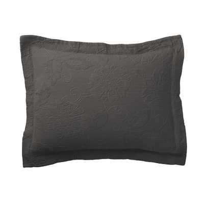 Putnam Matelasse Dark Gray Cotton Sham - Home Depot