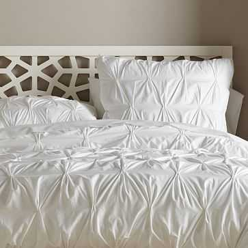Organic Pintuck Duvet Cover, King, White - West Elm