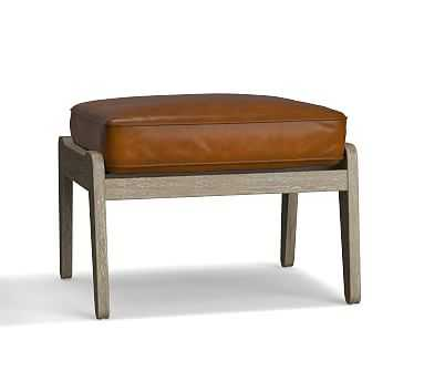 Raylan Leather Ottoman, Down Blend Wrapped Cushions, Burnished Bourbon - Pottery Barn
