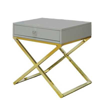 William's Home Furnishing Rhona Gray Champagne Side Table with Storage Drawer - Home Depot