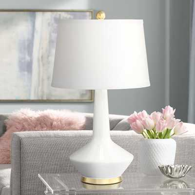 Serena Gold Accented White Ceramic Table Lamp - Style # 60M74 - Lamps Plus