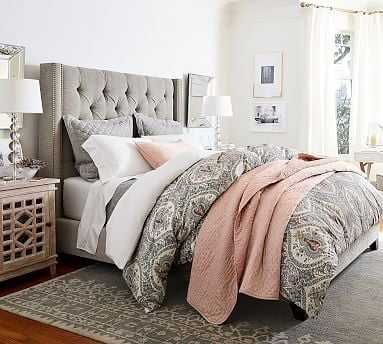 Harper Upholstered Tufted Bed with Pewter Nailheads, King, Textured Twill Light Gray - Pottery Barn