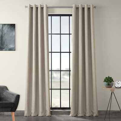 Exclusive Fabrics & Furnishings Oatmeal Beige Faux Linen Grommet Blackout Curtain (Single Panel) - Home Depot