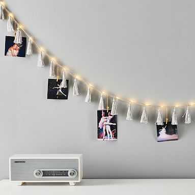 Tassel String Lights, Gray - Pottery Barn Teen