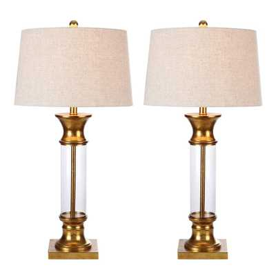 JONATHAN Y Hunter 32 in. Metal/Glass Table Lamp, Gold Leaf (Set of 2) - Home Depot