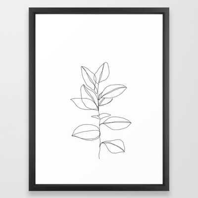 One line plant illustration - Dany Framed Art Print - Society6