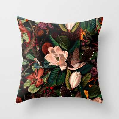 """FLORAL AND BIRDS XIV Throw Pillow - Indoor Cover (16"""" x 16"""") with pillow insert by Burcukorkmazyurek - Society6"""