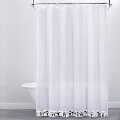 Textured Dot Fringed Shower Curtain White - Opalhouse - Target