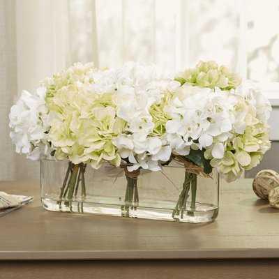 Hydrangea Centerpiece in Glass Vase - Birch Lane