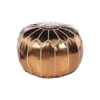 Carolos Leather Pouf - Birch Lane