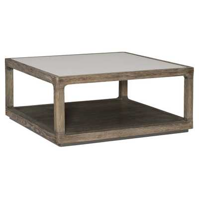 Caracole Fusion Cotail Table Rustic Lodge Grey Glass Top Brown Oak Square Coffee Table - Kathy Kuo Home