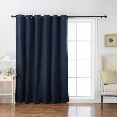Best Home Fashion 100 in. x 84 in. Flame Retardant Blackout Curtain Panel in Navy (Blue) - Home Depot