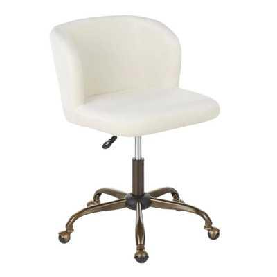 Lumisource Fran Antique Cream Velvet Adjustable Task Chair, Ivory - Home Depot