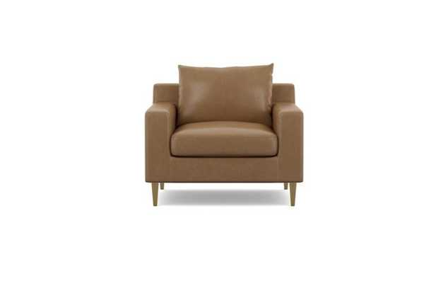 Sloan Leather Chairs with Palomino and Brass Plated legs - Interior Define