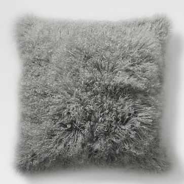 """Mongolian Lamb Pillow Cover, 24""""x24"""" Platinum - West Elm"""
