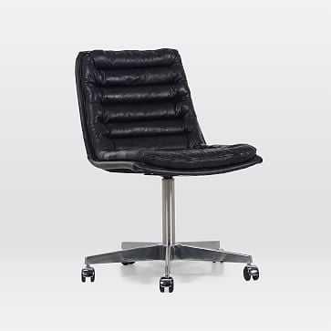 Leather Upholstered Swivel Desk Chair, Black - West Elm