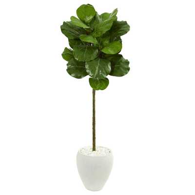 Nearly Natural Indoor 5-Ft. Fiddle Leaf Artificial Tree in White Planter - Home Depot