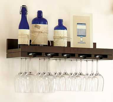 Holman Entertaining Shelf, Wineglass, Espresso Stain - Pottery Barn