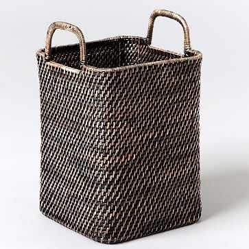 Modern Weave Collection, Blackwash, Handled Basket - West Elm