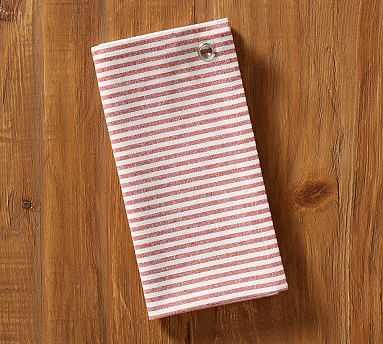 Wheaton Stripe Tea Towel, White/Red - Pottery Barn