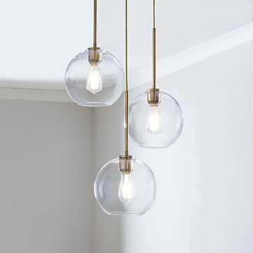 Sculptural Glass 3-Light Round Globe, Chandelier, Small Globe, Clear Shade, Brass Canopy - West Elm