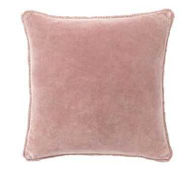 """Fringe Velvet Pillow Cover, 22"""", Blush - Pottery Barn"""