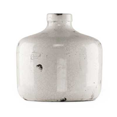Zentique Round Distressed White Large Decorative Vase, Distressed Crackle White - Home Depot