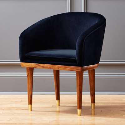 viceroy sapphire blue velvet chair - CB2
