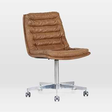 Leather Upholstered Swivel Desk Chair, Pampus Nut - West Elm