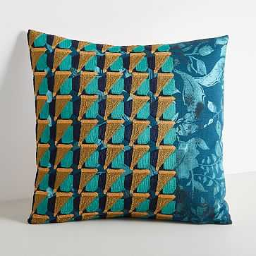 "Embroidered Geo Floral Pillow Cover, Blue Slate, 18""x18"" - West Elm"