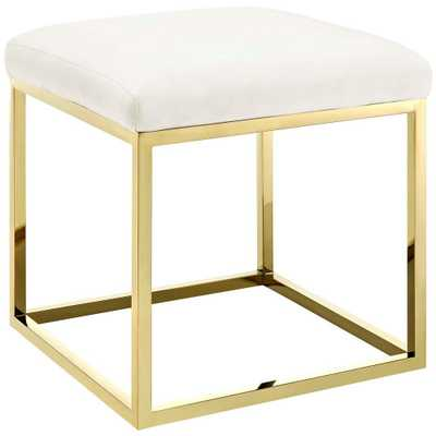 Gold Ivory Anticipate Ottoman - Home Depot